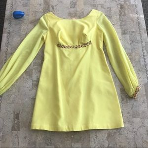 Other - Vintage yellow & floral mod style dress size 11